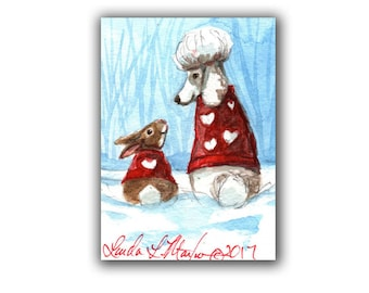 White Poodle  Bunny in Sweaters for Valentines Day llmartin Original ACEO  Watercolor 2