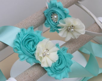 Aqua dress sash, aqua headbands, aqua flower girl dress sash, mint blue dress sash, aqua ribbon sash, aqua flower headband, blue dress sash