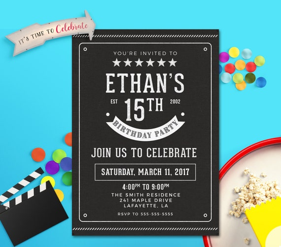 Teen Boy Invitation Boy Birthday Invitation Boy Invitations