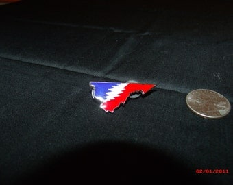 Grateful Dead pin. 13 point bolt pin. State of Virginia pin.