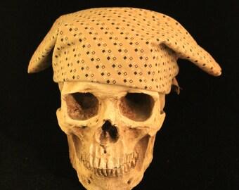 Bandana OOAK Rusty Bones Skull Rag Upcycled Men's Shirt Beige Black and White Square Pattern, Red Stitching Scarf, Do Rag, Neckerchief