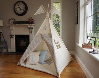 Teepee / Kids Teepee / Indoor tent for kids / Tepee with poles/ teepee with flag and window / wigwam for kids /  playtent for indoor outdoor