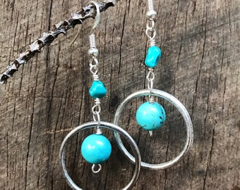 Turquoise and silver plated hoop dangle earrings