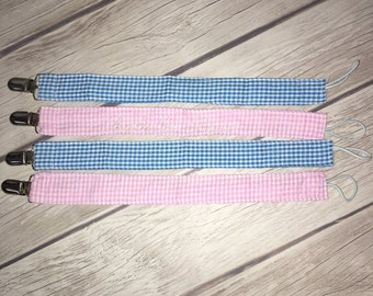 Monogrammed Pacifier Clips in Pink or Blue gingham!!! Add name FREE! Embroidered name