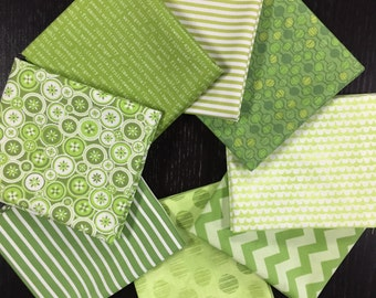 Green Prints Stash Builder - 8 Piece Fat Quarter Bundle