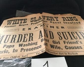 vintage 1930s newspaper, vintage ephemera, cincinnati examiner 1939 newspaper, sensational newspaper, pin up and sensation, newspaper, paper