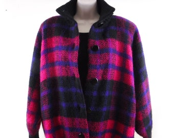 Vintage Mohair Cardigan Jacket/Wool Jacket/Sweater Jacket/Plaid/Black/Pink/Purple/Knit/Lined/3 Season/Batwing/Dolmen Sleeve/80's/Women's/