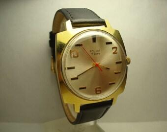 Poljot  mens wrist watch AU20 gold plated 17 jewels Original RARE USSR great condition Serviced