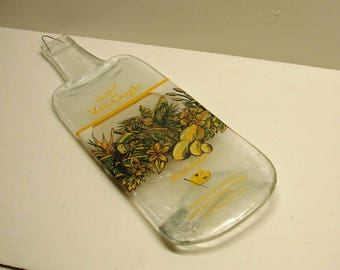 Vincent Van Gogh Mango Flavored Vodka Upcycled Bottle Slumped Flat for Cutting Board Cheese Tray or Display