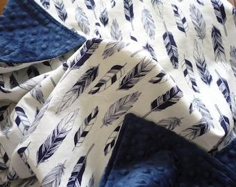 Minky Baby Boy Blanket...baby boy bedding...crib blanket...toddle blanket...navy feathers on ivory..woodland blanket..