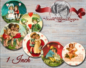 Vintage Valentine bottle cap images of 1 inch round circles