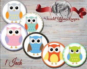 Owl Bottle Cap Images  1 inch circles - digital collage sheet - bottle cap images, buttons, tags, scrapbooking, cupcake toppers