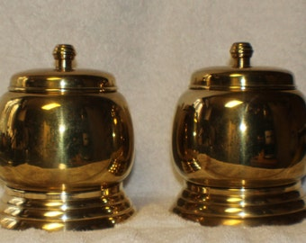 Vintage Matched Pair of Solid Brass Canister Jars on Brass Stands