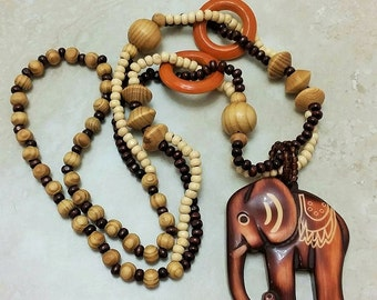 Elephant Charm Wooden Bead Necklace 30 Inches