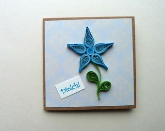 """Blue Quilled Flower Thank You Card in Welsh """"Diolch"""" Size 3.5"""" x 3.5"""""""