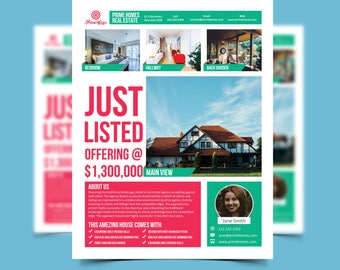 Real Estate Advertising Flyer Just Listed Template - Editable in Microsoft Word, Publisher, Powerpoint, Photoshop INSTANT DOWNLOAD KOR-031A