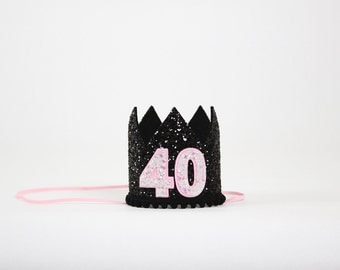 40th Birthday Crown | 40th Birthday Gifts for Women | Forty and Fabulous Hat | 40 and Fabulous | Black Pink