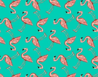 Pink Lady by Blank Quilting - Mini Flamingos Aqua - Cotton Woven Fabric