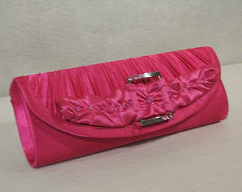 Hot Pink Clutch, Pink Satin Clutch, Pink Beaded Clutch, Pink Clutch with Rhinestone studded Buckle, Pink Evening Clutch, Pink Evening Bag