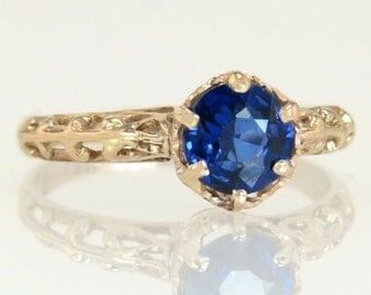 Antique .88ct Genuine Blue Sapphire 10K Rose Gold Art Deco Engagement Ring 1.7g
