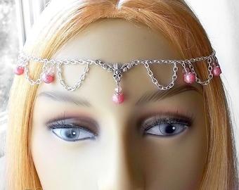 Pink Pearl & Crystal Circlet, Brides Circlet, Wedding Headpiece, Bridesmaid Tiara, Prom Queen, Renaissance Headpiece, Medieval, Valentine