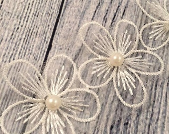 """2.5"""" Lace Flower, Pearl Centre Lace, Lace Flower, Headband Accessories, DIY, Scrapbooking"""