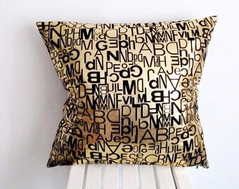 Letter Pillow,Gold Letters Pillow,Gold Foiled Pillow, Alphabet Pillow, ABC Throw Pillow, Cushion Cover, Decorative Pillow, Nursery Pillow