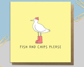Seagull 'Fish and Chips Please' Card