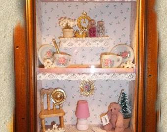 3D Wall Art/Shadow Box/Living Room Scene/Baby Girls Room/Framed Doll House Miniatures/Handmade