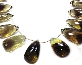 Natural Bio-Lemon Quartz Faceted Drops