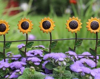 Sunflower Fence for Miniature Garden, Fairy Garden