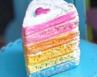 Magical Rainbow Cake for Miniature Garden, Fairy Garden