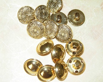 "Gold Buttons, Round Shanks, 2 Sets, 1/2"" Size"