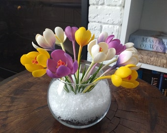 Crocuses 13 flowers, crocus bouquet,spring flower arrangements, handmade home decor