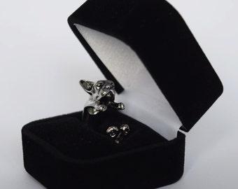 French Bulldog Dog Silver / Black Adjustable Fashion Ring + FREE Ring Gift Box