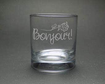 Bonjour Rocks  Glass - French Rocks Glass - Elegant Rocks Glass - French Teacher Gift - Whiskey Glass for Her - Rose Glass - Whiskey Gift