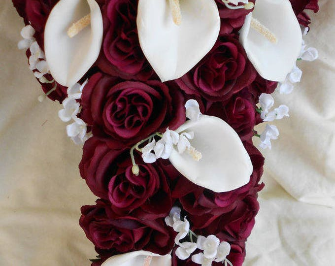Burgundy roses and white calla lilies 15 pieces bouquet (grooms bout Free) Bride cascading bouquet