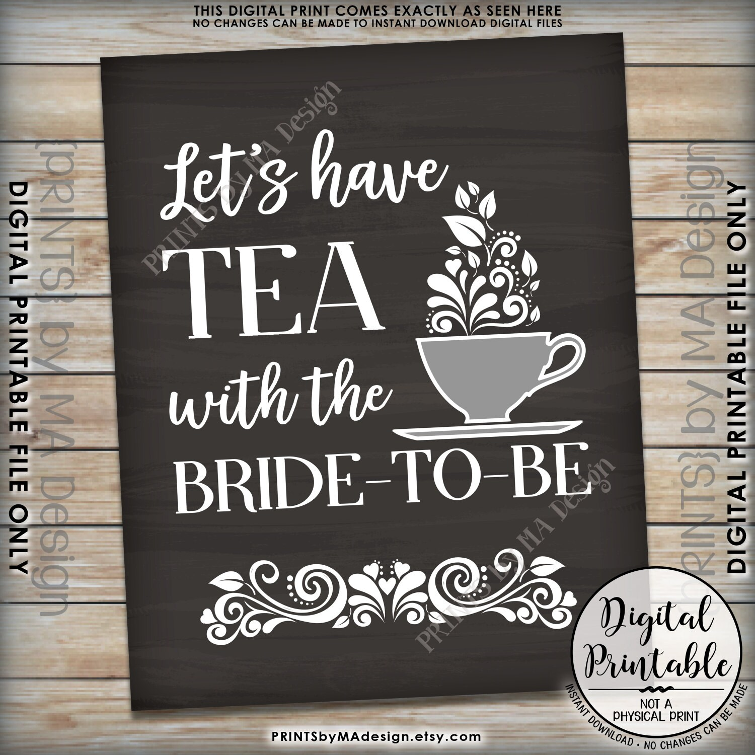 Bridal Shower Sign Let's Have Tea With The Bride-to-Be Tea