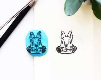 Easter rabbit Bunny hand-carved stamps-Easter rabbit handcarved stamp