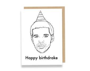 Happy Birthdrake Greeting Card, Recycled Card Stock. Drakes Favorite!