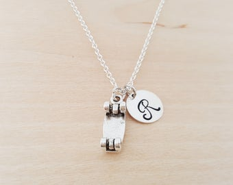 Skateboard Charm - Personalized Custom Initial Silver Necklace - Simple Jewelry - Gift for Her