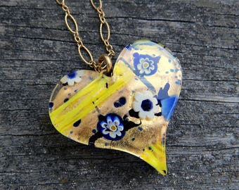 Murano Glass Heart Necklace, Beautiful Blue and Gold Floral Venetian Heart Necklace, Heart Layering Necklace, Gold Chain Heart Jewelry
