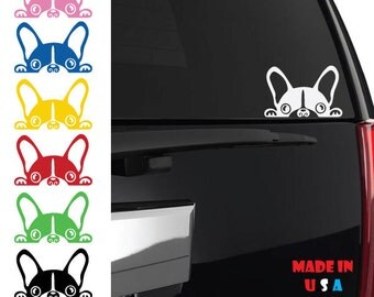 Peeking French Bulldog decal frenchie dog pet love puppy paw english adopt rescue iphone ipad case phone car truck window drool ANY size