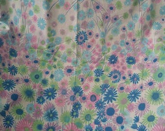 Vintage flower fabric , blue pink purple green , 42 x 72 , brushstroke floral , sewing , poly blend , cutter