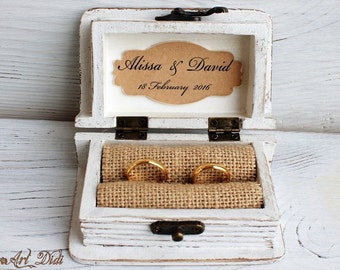 White wedding box, ring bearer box, I Do, I do box, wooden jewelry box, ring box, mr  mrs ring box, Engagement Ring Box, Personalized Couple
