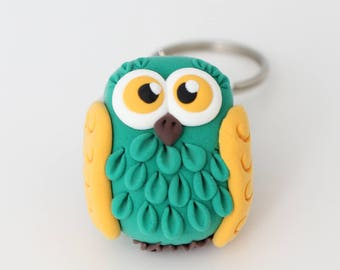 Yellow and green Owl keychain