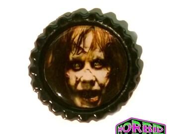 Regan The Exorcist Black Horror Pin Badge