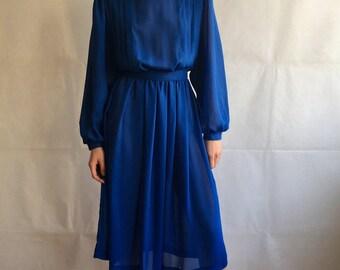 Vintage Semi Sheer Blue Midi Pleated Dress