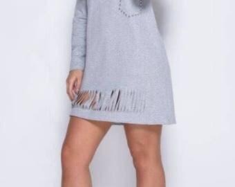 Grey Stud detail Lazer cut jersey Dress