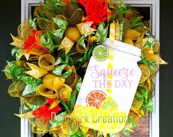 Spring wreath, Summer wreath, Mason jar wreath, Lemonade wreath, Front door wreath